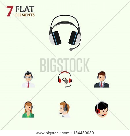 Flat Hotline Set Of Operator, Secretary, Help And Other Vector Objects. Also Includes Secretary, Headset, Help Elements.
