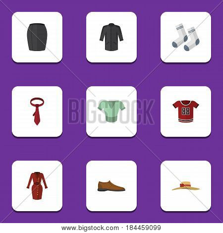 Flat Clothes Set Of Male Footware, Cravat, Foot Textile And Other Vector Objects. Also Includes Shoe, Cravat, Kimono Elements.