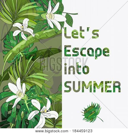 Tropical summer collection of hand drawn exotic leaves. Vector illustration with text.