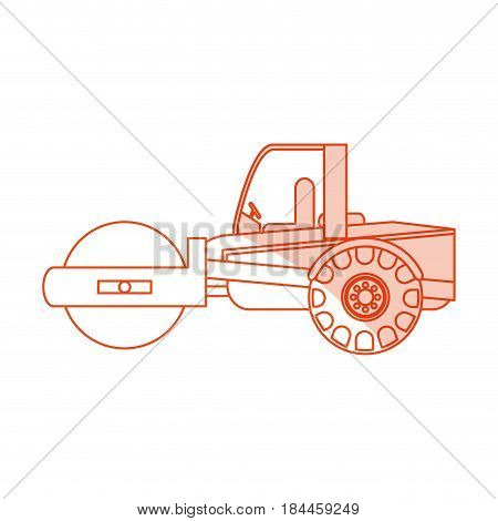 orange silhouette shading cartoon road roller machine vector illustration