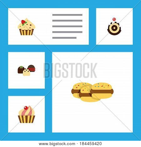 Flat Cake Set Of Pastry, Biscuit, Confectionery And Other Vector Objects. Also Includes Cupcake, Biscuit, Delicious Elements.