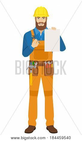 Worker holding a a paper and giving pen for your signature. Full length portrait of worker character in a flat style. Vector illustration.