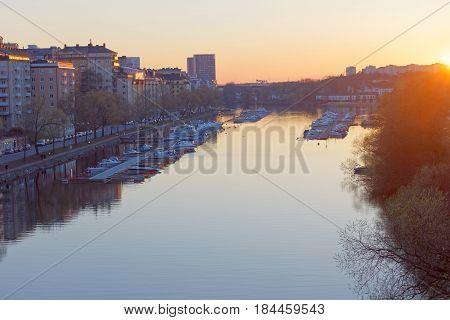 STOCKHOLM SWEDEN - APR 30 2017: The canal Karlbergskanalen in central stockholm at sunset April 30 2017 in Stockholm Sweden