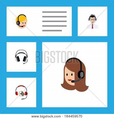 Flat Telemarketing Set Of Headphone, Earphone, Service And Other Vector Objects. Also Includes Hotline, Operator, Center Elements.