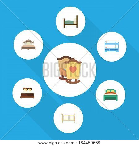 Flat Bedroom Set Of Bedroom, Bunk Bed, Crib And Other Vector Objects. Also Includes Double, Crib, Bearings Elements.