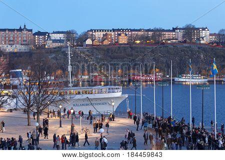 STOCKHOLM SWEDEN - APR 30 2017: Celebrating the spring with the Valborg bonfire at Riddarholmen in the evening April 30 2017 in Stockholm Sweden