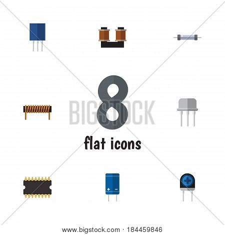 Flat Device Set Of Bobbin, Resistor, Resist And Other Vector Objects. Also Includes Recipient, Bobbin, Processor Elements.
