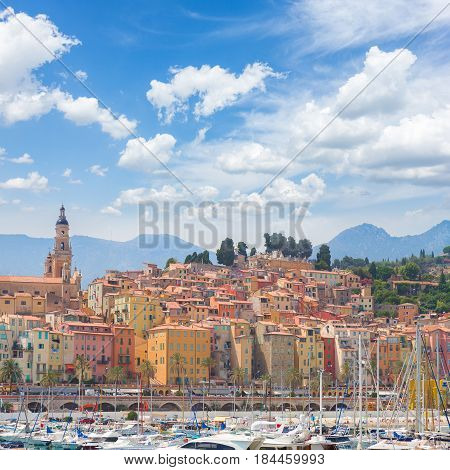 colorful houses of Menton old town port, France