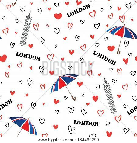Travel London city seamless pattern with love hearts and umbrella. British landmark wallpaper. European vacation background