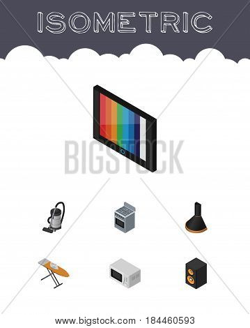 Isometric Electronics Set Of Television, Cloth Iron, Air Extractor And Other Vector Objects. Also Includes Music, Ironing, Box Elements.
