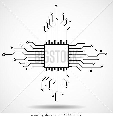 Cpu. Microprocessor. Microchip. Circuit board. Vector illustration