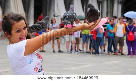 VENICE ITALY 06 12 2011: Girl holding pigeons in Piazza San Marco Venice Italy. Pigeons once rivaled cats as the traditional, if unofficial, mascots of Venice.