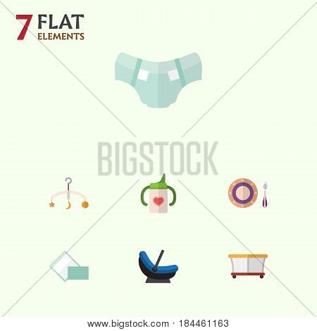 Flat Infant Set Of Playground, Pram, Mobile And Other Vector Objects. Also Includes Playpen, Tissue, Playground Elements.