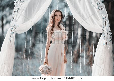 Beauty portrait of a very pretty young girl. Doll appearance. Woman with brown hair in a pink wedding dress on nature near the wedding arch. Long hair. Natural light. Model posing in nature near arch. A beautiful wedding arch. Arch of fabric