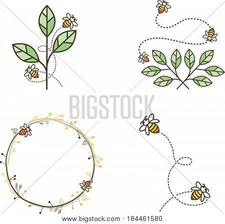 Illustration of Bee Logo Natiral Design Collection