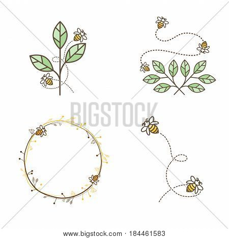 Illustration of Bee Logo Natural Design Collection