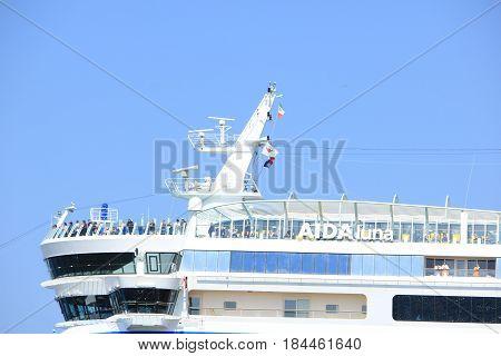 IJmuiden the Netherlands -April 29th 2017: Aida Luna at Felison Cruise Terminal IJmuiden detail of ship