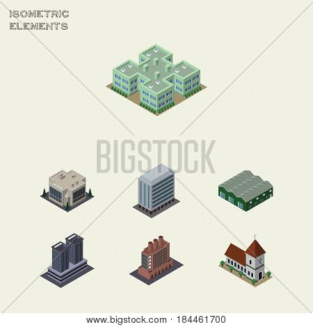 Isometric Urban Set Of Tower, Chapel, Industry And Other Vector Objects. Also Includes Warehouse, Tower, Building Elements.