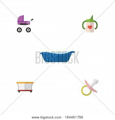 Flat Infant Set Of Stroller, Nipple, Playground And Other Vector Objects. Also Includes Playground, Children, Playpen Elements.