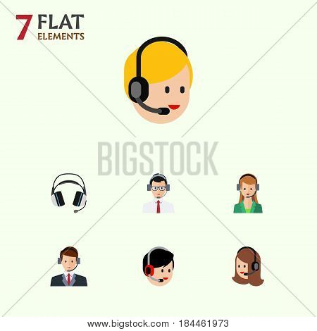 Flat Telemarketing Set Of Secretary, Operator, Hotline And Other Vector Objects. Also Includes Hotline, Earphone, Help Elements.