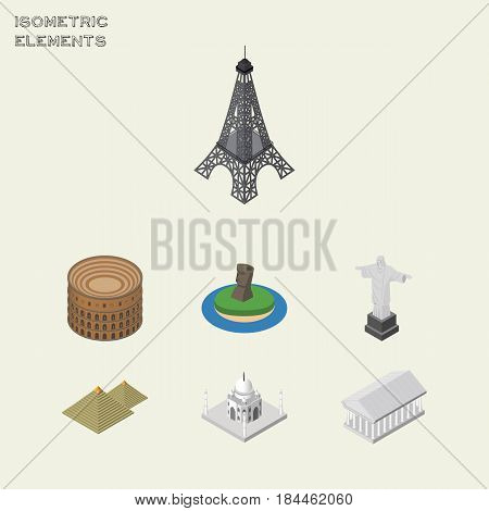 Isometric Travel Set Of India Mosque, Rio, Coliseum And Other Vector Objects. Also Includes Tower, Museum, Eiffel Elements.