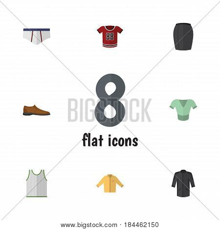 Flat Clothes Set Of Underclothes, Singlet, Male Footware And Other Vector Objects. Also Includes Man, Woman, Clothes Elements.
