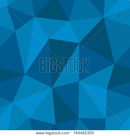 Abstract seamless light and dark blue triangles pattern for background. Geometric layout for printing magazine cover, advertise presentation, flyer. Template polygon backdrop for poster page.