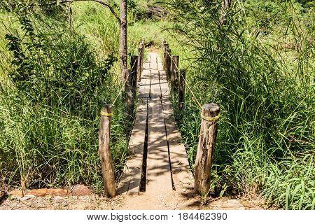 Rustic wooden bridge in Goias Brazil. Chapada do veadeiros