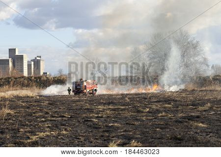 Firefighting On The Field Around The Industrial  Zone