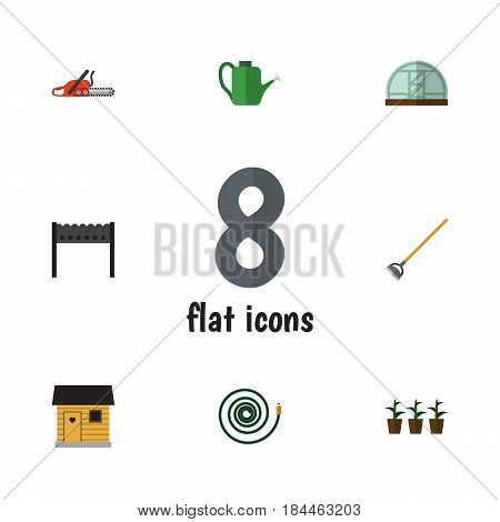 Flat Dacha Set Of Tool, Barbecue, Hacksaw And Other Vector Objects. Also Includes Blade, Plant, Stabling Elements.