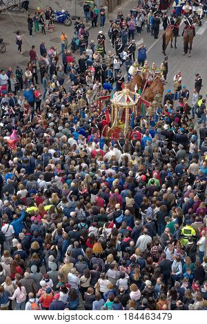 Cagliari Italy - May 1 2017: religious procession of Sat'Efisio - Sardinia - Parade of sardinian traditional costumes. Pilgrims from above.