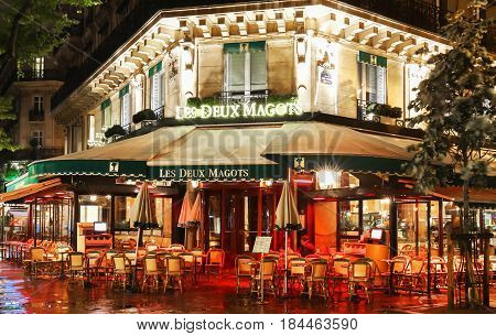 Paris France-April 30 2017: The famous cafe Les deux magots located on Saint-Germain boulevard .It was once home for to intellectual stars from Hemingway to Picasso.