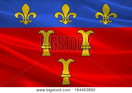 Flag of Tulle is a commune and capital of the Corrèze département in the Nouvelle-Aquitaine region in central France. 3D illustration