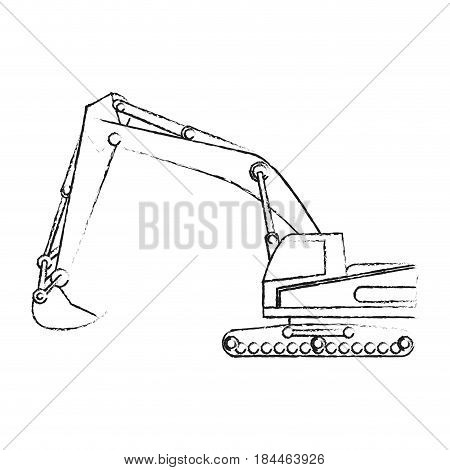 black blurred silhouette cartoon construction heavy machine excavator vector illustration