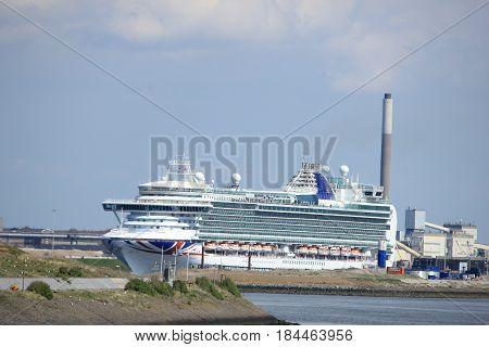IJmuiden the Netherlands -April 29th 2017: Ventura P & O Cruises in IJmuiden sea lock