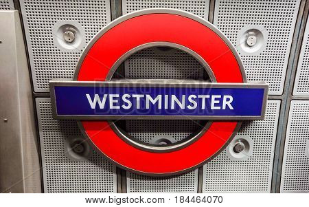 LONDON, ENGLAND - March 30: Underground Westminster tube station in London on March 30, 2017. The London Underground is the oldest underground railway in the world covering 402 km of tracks