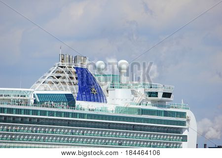 IJmuiden the Netherlands -April 29th 2017: Ventura P & O Cruises detail of ship