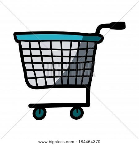 light colored hand drawn silhouette of supermarket shopping cart with half shadow vector illustration