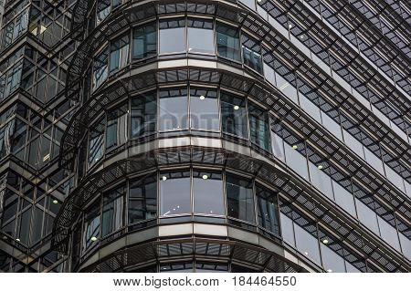 London, United Kingdom - April 06 2017 : Canary Wharf is one of the two major business districts in London. .The neighborhood is dotted with office buildings that form the whole London skyline .