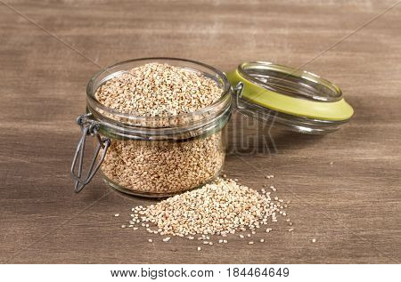sesame seeds On a wooden background