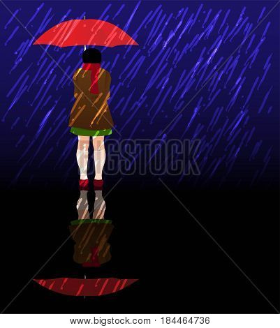 little girl with red umbrella in a storm