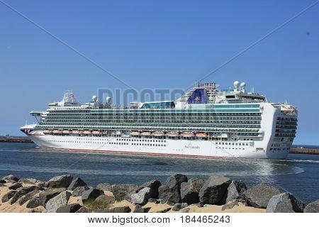 IJmuiden the Netherlands -April 29th 2017: Ventura P & O Cruises leaving IJmuiden