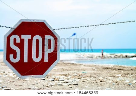 Traffic Sign, Stop Sign On The Beach
