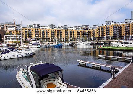 LONDON, UNITED KINGDOM - APRIL 25: St Katharine Docks in London on APRIL 25, 2017. Marina for Yachts and Sail Boats in London, United Kingdom.