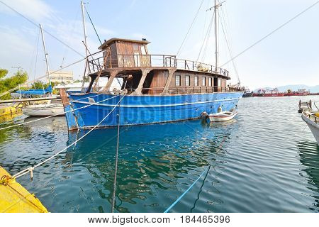 old wooden boat at Eleusis port Greece