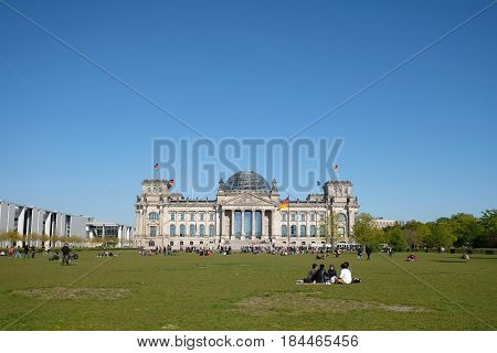 The Reichstag Builging Exterior In Berlin