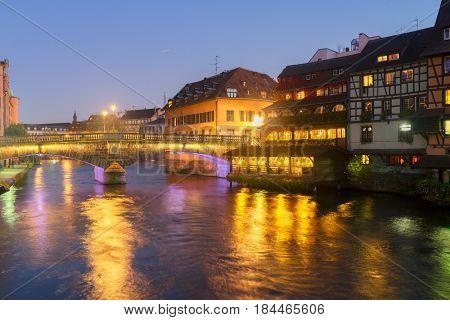 Petit France medieval district of Strasbourgnight scene, Alsace France