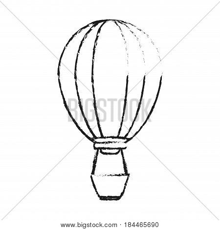 black blurred silhouette cartoon hot air balloon with basket vector illustration