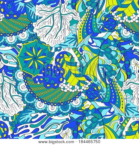 Tracery Seamless Calming Pattern. Mehendi Design. Ethnic Blue Doodle Texture. Indifferent Discreet.