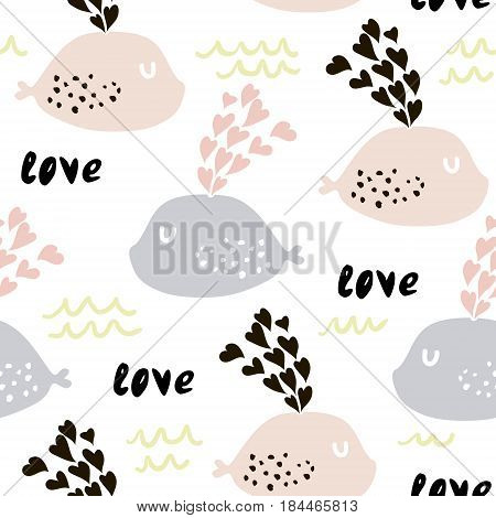 Seamless pattern with cute whales and hearts. Cute marine background. Vector Illustration.